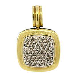 David Yurman Sterling Silver 18K Gold Albion Diamond Pendant