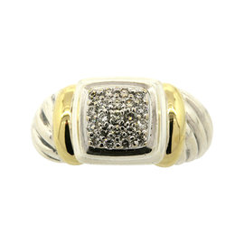 David Yurman Sterling Silver 18K Gold Diamond Cable Dome Ring Band