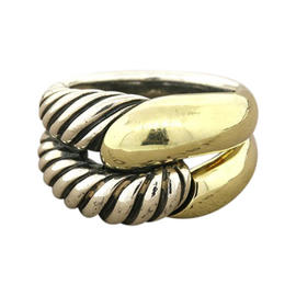 David Yurman Sterling Silver 14K Gold Cable Cordelia Bypass Band Ring