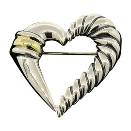 David Yurman Sterling Silver 14K Yellow Gold Cable Heart Pin Brooch