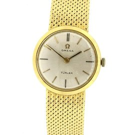 Omega Turler 18K Yellow Gold Mesh Bracelet Womens Watch