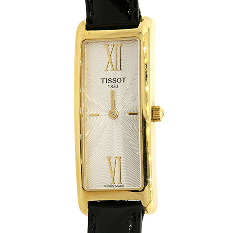 "Image of ""Tissot 18K Yellow Gold Rectangle Black Patent Leather Strap Womens"""