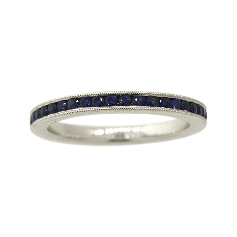 "Image of ""Simon G. 18K White Gold with 0.79ct. Blue Sapphire Eternity Wedding"""