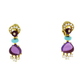 Bvlgari 18K Yellow Gold Diamond Amethyst & Turquoise Mediterranean Eden Earrings