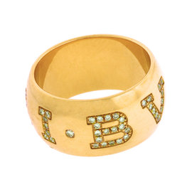 Bulgari 18K Rose Gold With Pave Diamond Monologo Ring