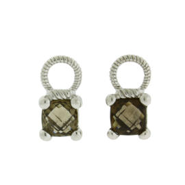 Judith Ripka Sterling Silver Smokey Stone Earrings
