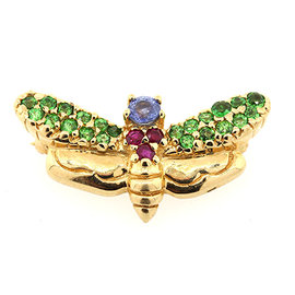 Levian 14K Yellow Gold Bug Bee Sapphire Ruby Garnet Pin Brooch
