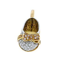 Aaron Basha 18K White Gold 18K Rose Gold and Diamond Bow Shoe Pendant