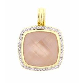 David Yurman 18K Yellow Gold Rose Quartz and Diamond Pendant