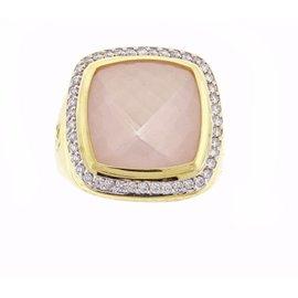 David Yurman 18K Rose Quartz and Diamond Ring