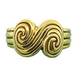 Tiffany & Co. 18K Yellow Gold Band Spiro S Swirl Ring