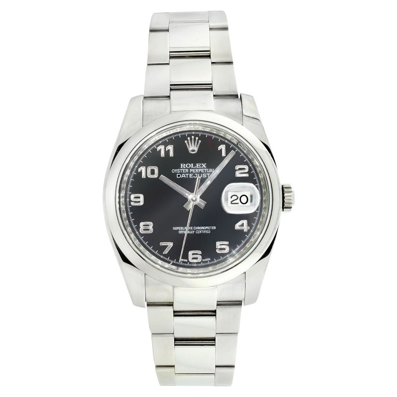 """Image of """"Rolex Datejust 116200 Oyster Stainless Steel Black Arabic Dial Smooth"""""""