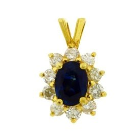 14K Yellow Gold Diamond & Sapphire Cluster Pendant