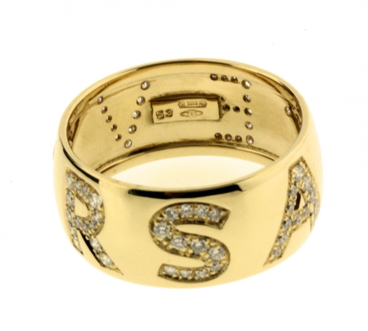 "Image of ""Versace 18K Yellow Gold Pave Diamond Logo Ring Size 6.25"""