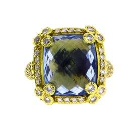 Judith Ripka 18K Yellow Gold Large Diamond & Blue Topaz Ring