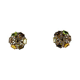Levian 14K Yellow Gold Diamond Smokey Topaz Citrine & Peridot Earrings