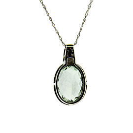 Levian 14K White Gold Diamond & Green Amethyst Necklace