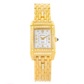 Jaeger LeCoultre Reverso 267.1.86 18K Yellow Gold Diamond Womens Watch