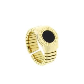 Bulgari 18K Yellow Gold Tubogas Black Onyx Ring