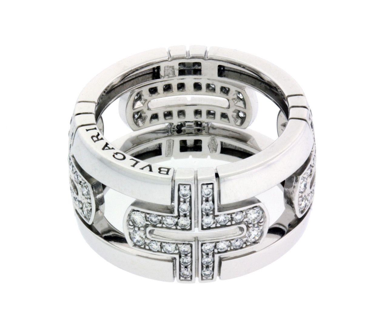 "Image of ""Bulgari 18K White Gold Large Parentesi Band Ring"""