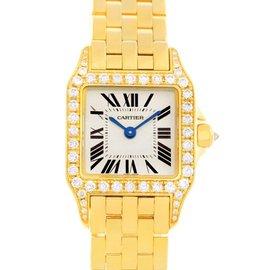 Cartier Santos Demoiselle WF9001Y7 Yellow Gold Diamond Womens Watch