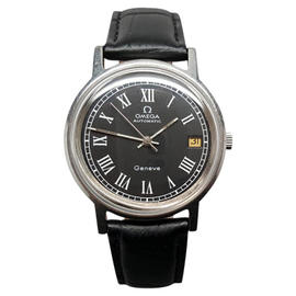 Omega Geneve Caliber 1012 Automatic Date 1977 Black Roman Dial Swiss 35mm Watch