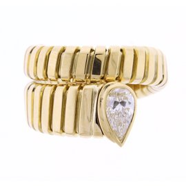 Bulgari Tubogas 18k Yellow Gold Diamond Ring