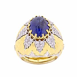Buccellati 18K Yellow Gold Sapphire and Diamond Ring