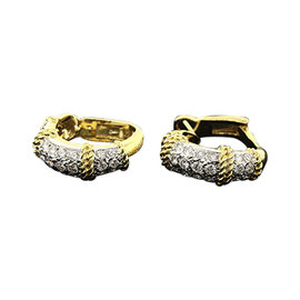 Fred of Paris 18k Yellow & White Gold Pave Set Diamond Hoop Earrings