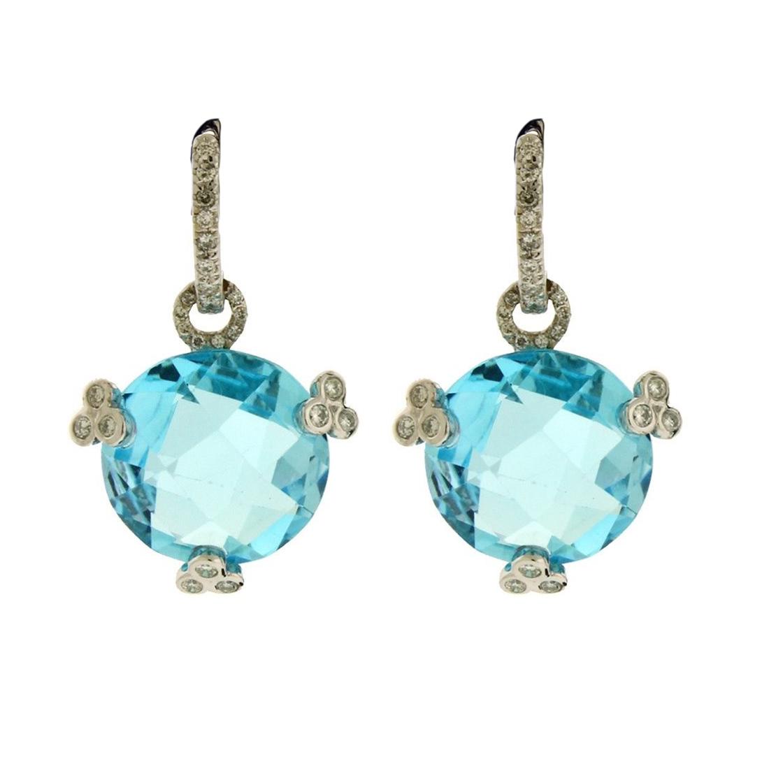 """Image of """"18K White Gold 0.50ct Diamond, Blue Topaz Dangle Earrings"""""""