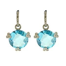 18K White Gold 0.50ct Diamond, Blue Topaz Dangle Earrings