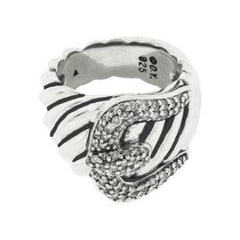 David Yurman Sterling Silver Diamond Buckle Ring Size 6