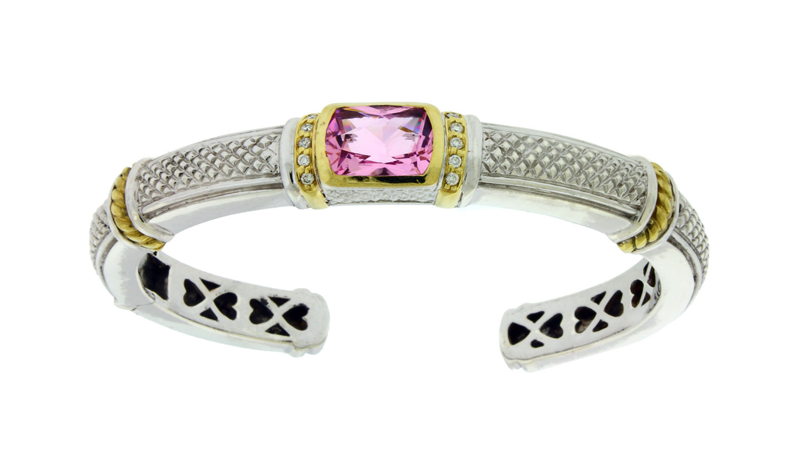 "Image of ""Judith Ripka 18K Gold and Silver Diamond & Pink Crystal Hinged Bangle"""