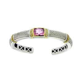Judith Ripka 18K Gold and Silver Diamond & Pink Crystal Hinged Bangle