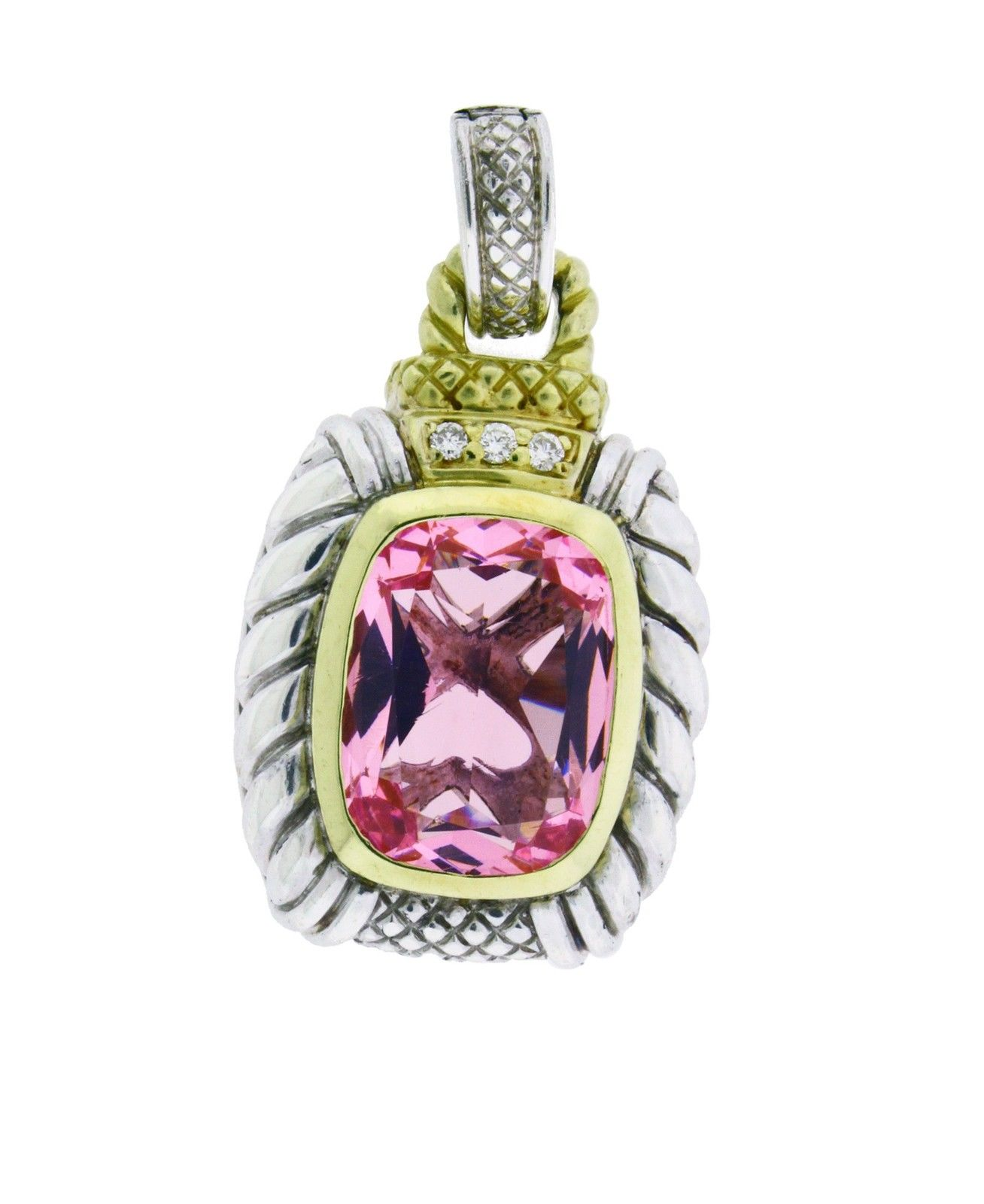 "Image of ""Judith Ripka 18K Gold And Silver Diamond & Pink Crystal Large Enhancer"""
