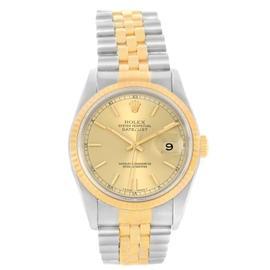 Rolex Datejust 16233 Steel/18K Yellow Gold Baton Dial Mens 36mm Watch