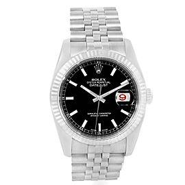 Rolex Datejust 116234 Steel 18K White Gold Black Baton Dial Mens 36mm Watch