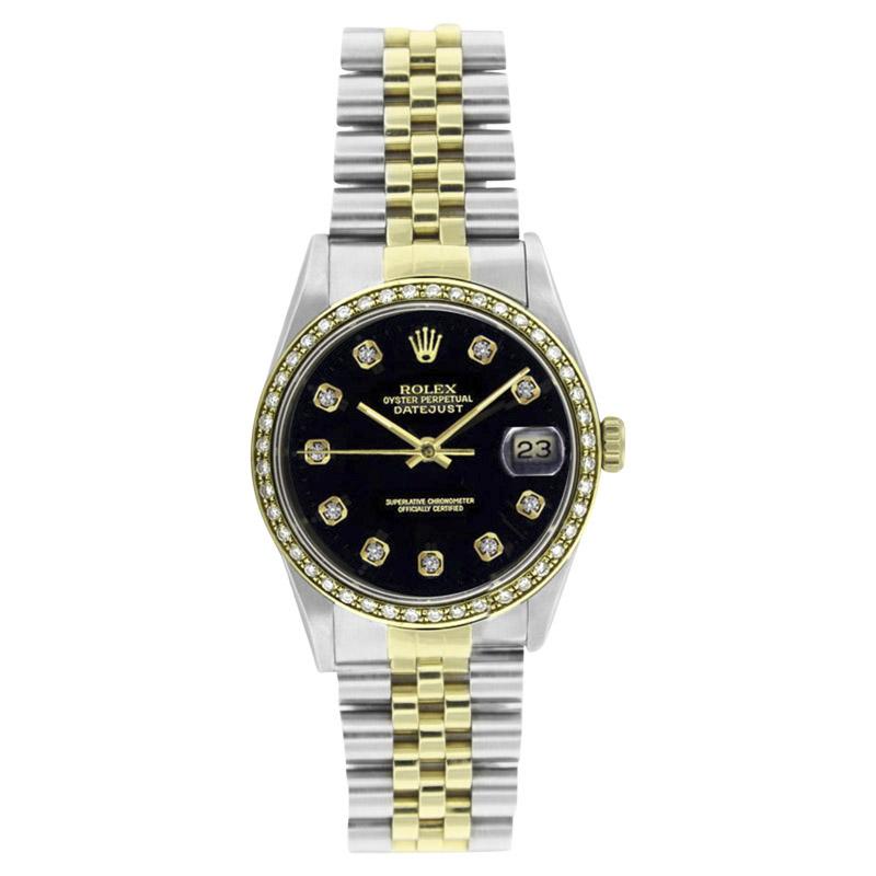 "Image of ""Rolex Steel & Gold Datejust 16233 Black Diamond Dial & 1CT Diamond"""