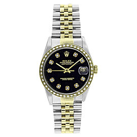 Rolex Steel & Gold Datejust 16233 Black Diamond Dial & 1CT Diamond Bezel Mens 36mm Watch