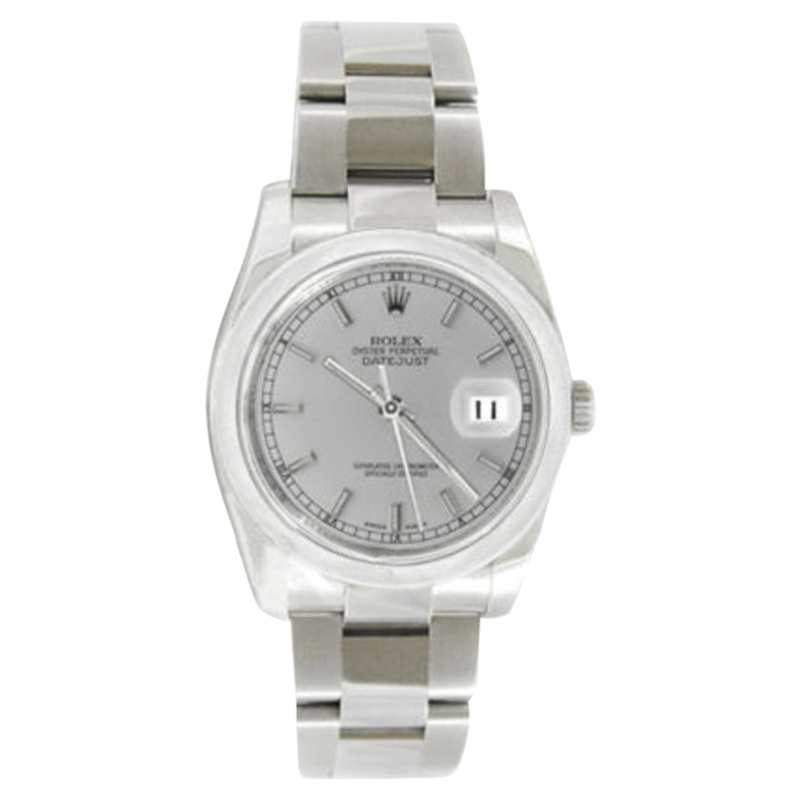 """Image of """"Rolex Datejust Oyster Steel 116200 Silver Stick Dial Smooth Bezel Mens"""""""