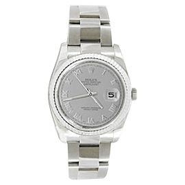 Rolex Datejust 116234 Steel Oyster Silver Roman Dial Gold Bezel Mens 36mm Watch