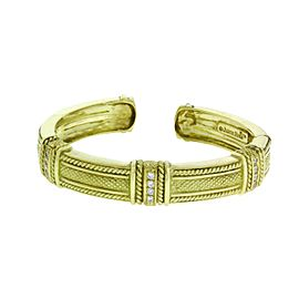 Judith Ripka 18K Yellow Gold 0.20 Ct Diamond Hinged Bracelet