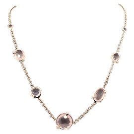 Ippolita Rock Candy Rose Gold-Tone Sterling Silver Pink Quartz Diamond Chain Necklace