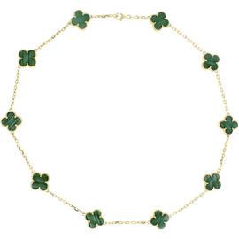 Van Cleef & Arpels Alhambra 18K Yellow Gold Malachite 10-Motiff Necklace