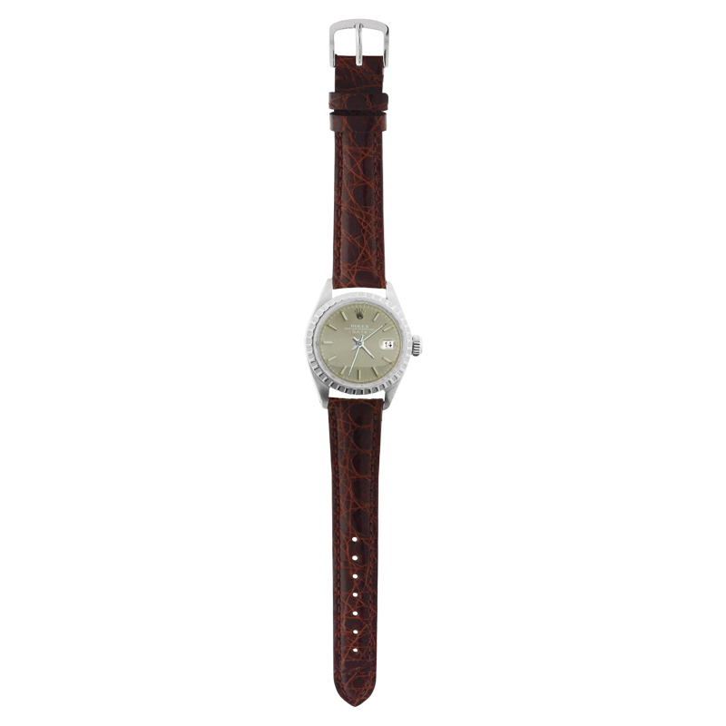 """Image of """"Rolex Date 6916 Steel Brown Leather Slate Stick Dial Automatic 26mm"""""""