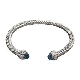 David Yurman Sterling Silver Blue Topaz and 0.18 Ct Diamond Big Stone Cable Bracelet