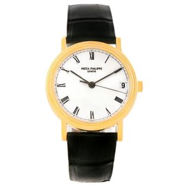 Patek Philippe Calatrava 3802 18K Yellow Gold & Leather Strap 33mm Mens Watch