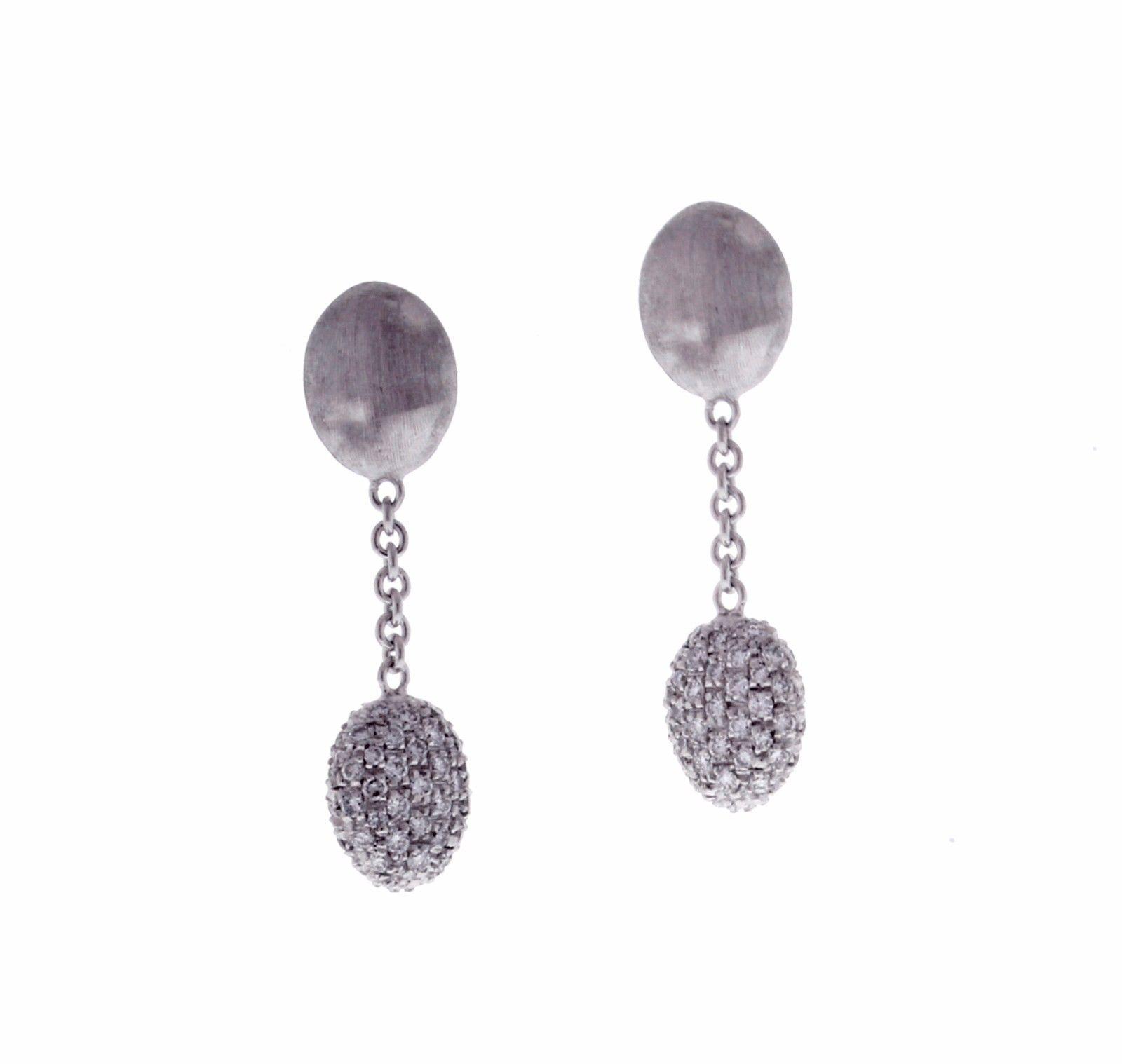 "Image of ""Marco Bicego 18K White Gold Siviglia Diamond Drop Earrings"""
