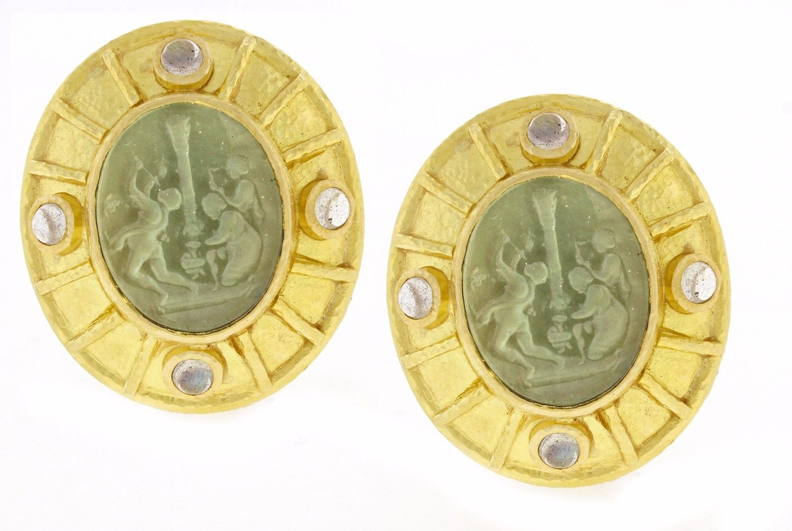 "Image of ""Elizabeth Locke Venetian Glass Intaglio and Moonstone Earrings"""