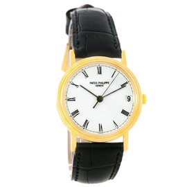 Patek Philippe Calatrava 3802 18K Yellow Gold & Leather Automatic 33mm Unisex Watch